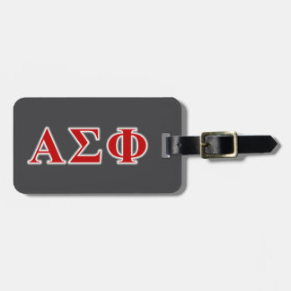 Alpha Sigma Phi Red and Grey Lettes Luggage Tag