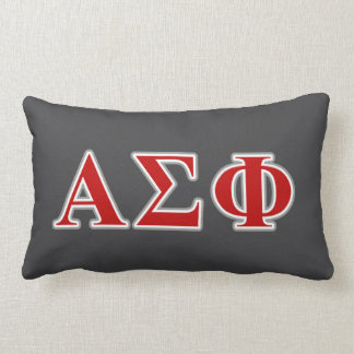 Alpha Sigma Phi Red and Grey Lettes Lumbar Cushion