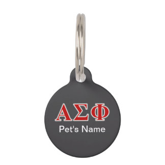 Alpha Sigma Phi Red and Grey Lettes Pet Tag