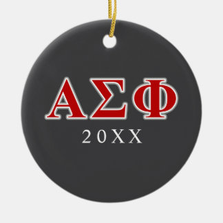 Alpha Sigma Phi Red and Grey Lettes Round Ceramic Decoration