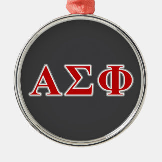 Alpha Sigma Phi Red and Grey Lettes Silver-Colored Round Decoration