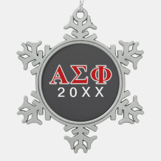 Alpha Sigma Phi Red and Grey Lettes Snowflake Pewter Christmas Ornament