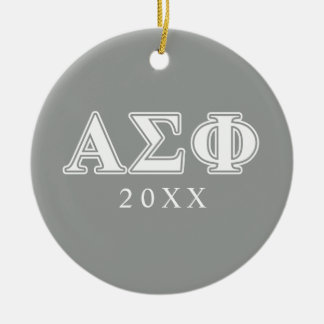 Alpha Sigma Phi White and Grey Letters Christmas Ornament