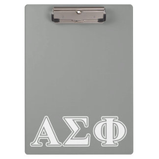 Alpha Sigma Phi White and Grey Letters Clipboard
