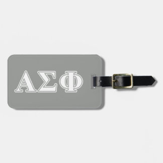 Alpha Sigma Phi White and Grey Letters Luggage Tag