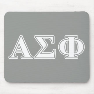 Alpha Sigma Phi White and Grey Letters Mouse Mat