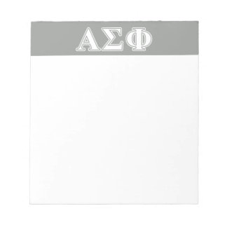 Alpha Sigma Phi White and Grey Letters Notepad