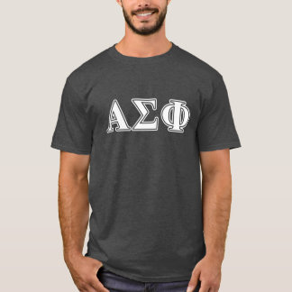 Alpha Sigma Phi White and Grey Letters T-Shirt