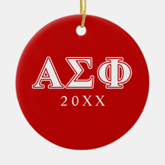 Alpha Sigma Phi White and Red Letters Christmas Ornament