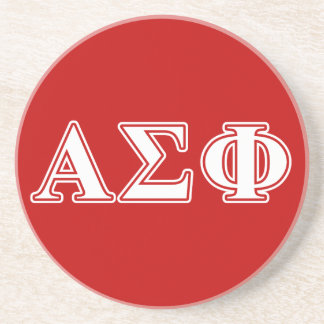 Alpha Sigma Phi White and Red Letters Coaster