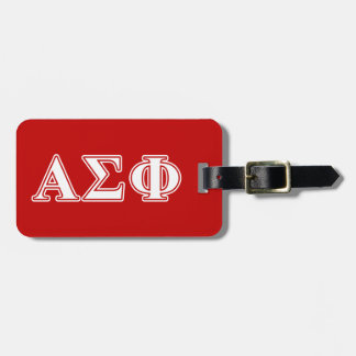 Alpha Sigma Phi White and Red Letters Luggage Tag