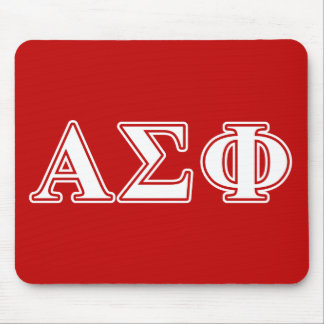 Alpha Sigma Phi White and Red Letters Mouse Pad