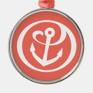 Alpha Sigma Tau Anchor Mark 2 Silver-Colored Round Decoration