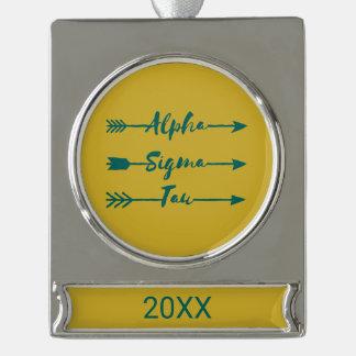 Alpha Sigma Tau Arrow Silver Plated Banner Ornament