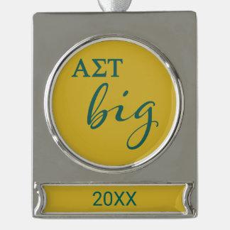 Alpha Sigma Tau Big Script Silver Plated Banner Ornament