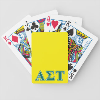 Alpha Sigma Tau Green Letters Bicycle Playing Cards