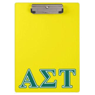 Alpha Sigma Tau Green Letters Clipboard