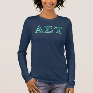 Alpha Sigma Tau Green Letters Long Sleeve T-Shirt