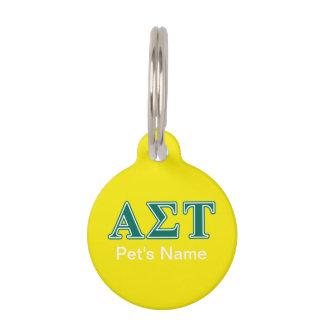 Alpha Sigma Tau Green Letters Pet ID Tag