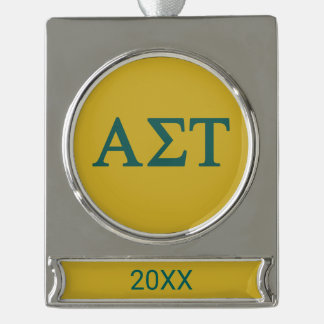 Alpha Sigma Tau Lil Big Logo Silver Plated Banner Ornament