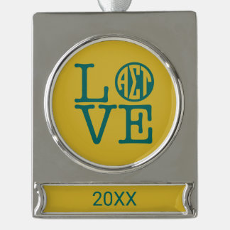 Alpha Sigma Tau Love Silver Plated Banner Ornament