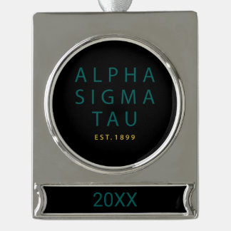 Alpha Sigma Tau Modern Type Silver Plated Banner Ornament