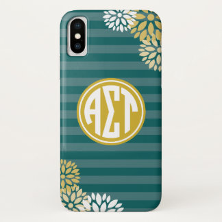 Alpha Sigma Tau | Monogram Stripe Pattern iPhone X Case