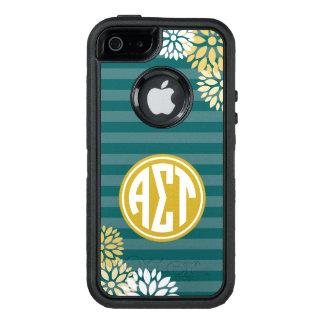 Alpha Sigma Tau | Monogram Stripe Pattern OtterBox Defender iPhone Case