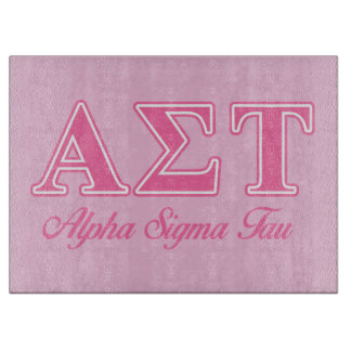 Alpha Sigma Tau Pink Letters Cutting Board