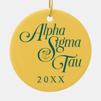 Alpha Sigma Tau Vertical Mark 2 Round Ceramic Decoration