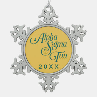 Alpha Sigma Tau Vertical Mark 2 Snowflake Pewter Christmas Ornament