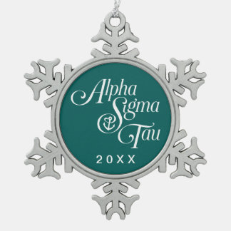 Alpha Sigma Tau Vertical Mark Pewter Snowflake Decoration