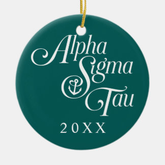 Alpha Sigma Tau Vertical Mark Round Ceramic Decoration