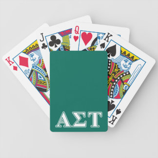 Alpha Sigma Tau White and Green Letters Bicycle Playing Cards