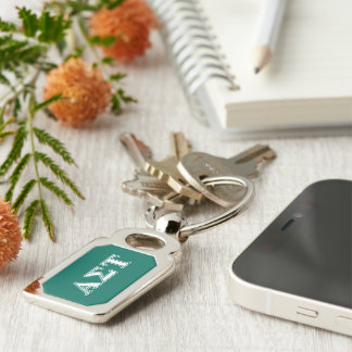 Alpha Sigma Tau White and Green Letters Key Ring