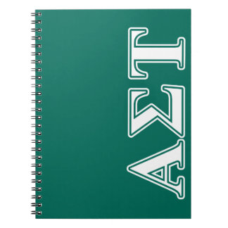 Alpha Sigma Tau White and Green Letters Notebook