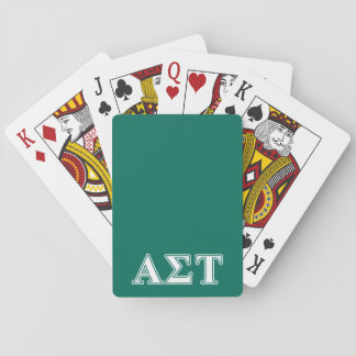 Alpha Sigma Tau White and Green Letters Playing Cards