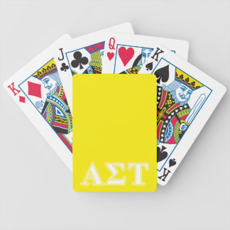 Alpha Sigma Tau White and Yellow Letters Bicycle Playing Cards