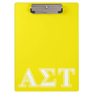 Alpha Sigma Tau White and Yellow Letters Clipboard