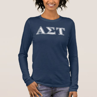 Alpha Sigma Tau White and Yellow Letters Long Sleeve T-Shirt