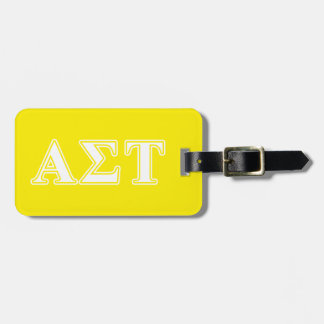 Alpha Sigma Tau White and Yellow Letters Luggage Tag