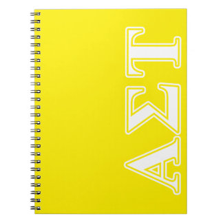 Alpha Sigma Tau White and Yellow Letters Notebook