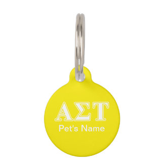 Alpha Sigma Tau White and Yellow Letters Pet Name Tag