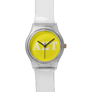 Alpha Sigma Tau White and Yellow Letters Watch
