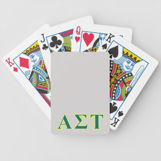 Alpha Sigma Tau Yellow and Green Letters Bicycle Playing Cards