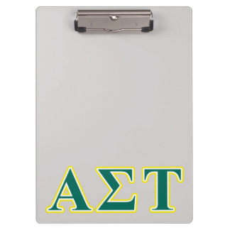 Alpha Sigma Tau Yellow and Green Letters Clipboard