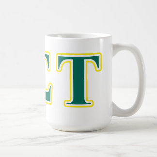 Alpha Sigma Tau Yellow and Green Letters Coffee Mug