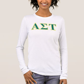 Alpha Sigma Tau Yellow and Green Letters Long Sleeve T-Shirt