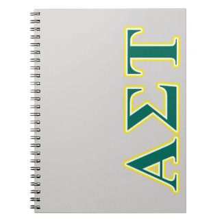 Alpha Sigma Tau Yellow and Green Letters Notebook