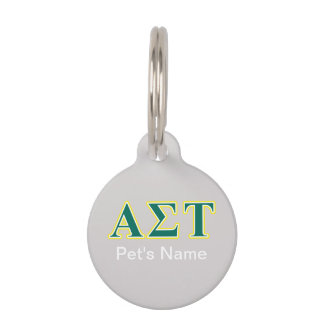 Alpha Sigma Tau Yellow and Green Letters Pet ID Tag